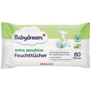 Babydream Extra Sensitive servetėlės - 80 vnt